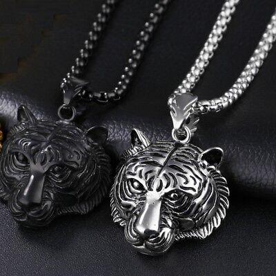 herren edelstahl leuchtend tiger kopf anhänger collier halskette schmuck
