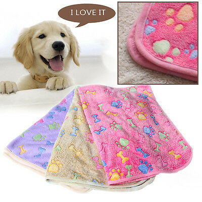 Warm Pet Mat Bone Print Cat Dog Puppy Fleece Soft Blanket Bed Cushion New 2