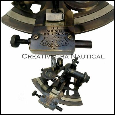 Nautical Antique Maritime Brass Sextant With Wooden Box Vintage Collectible 5'' 3