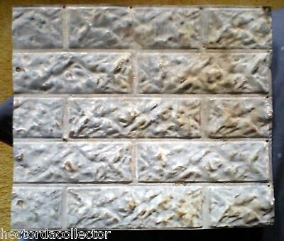 SALE 14 x 16 Antique Ceiling Tin Outdoor Brick Pattern Tin Shabby Chic Cottage