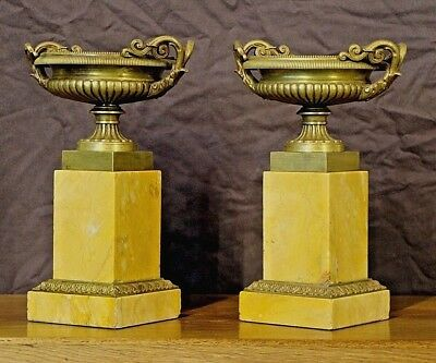 Antique French Empire sienna marble bronze urns vase Neoclassical Tazza original 2