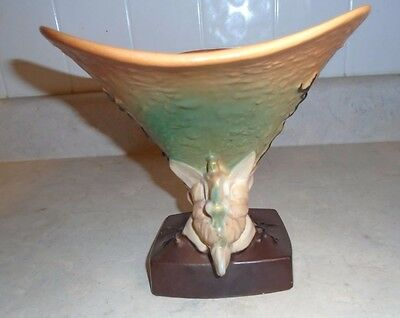 Vintage Roseville Pottery Magnolia Cornucopia Vase 185 8 11900