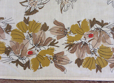 Vintage Cotton Tablecloth VERA Signed Shades of Brown Flowers and Red Ladybugs 4