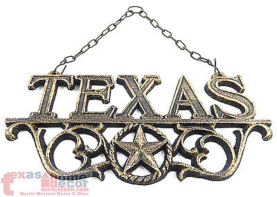 Texas Sign Plaque made of raw cast iron metal