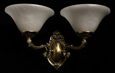 pair of  Alabaster wall lights sconces solid  double arms bronze candelabra 3