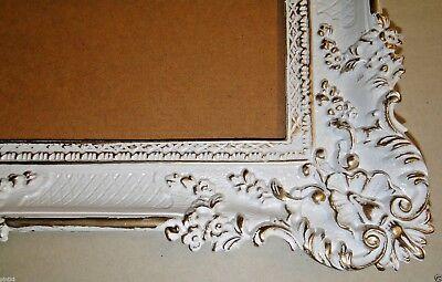 Bilderrahmen Weiß/Gold Barock Gemälderahmen  Antik Rokoko 96x57 Rahmen Groß 3074 4