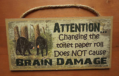 2 of 4 Funny Cabin Lodge Bathroom Sign Home Decor Black Bear Wood CHANGING TOILET PAPER
