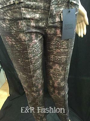 Zara Reptile Pattern Trousers With Faux Leather Waist Size Xs (B5) Ref: 2126 235 3