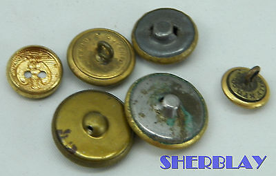 Sweet Vintage Lot Of 6 Navy Military Uniform Metal Buttons