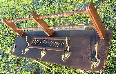 Vintage English Wooden Coat Rack Kitchen Hat Rack Mid Century Modern Welcome 2