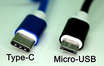 2 PACK [MIcro USB + Type C] Nylon Braided USB Data Sync Charging Cable