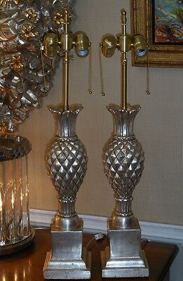 Superb Pair Thomas Morgan Designer Table Lamps w Silver Leaf Pineapple Base 3