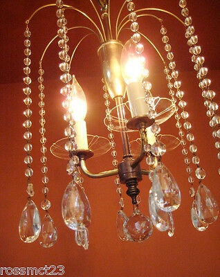 Vintage Lighting 1950s Eames Mid Century Hollywood Regency crystal chandelier 4