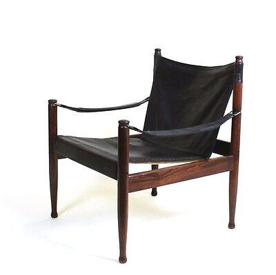 Mid Century Danish Modern Rosewood and Leather Safari chair by Erik Worts 3 • £885.00