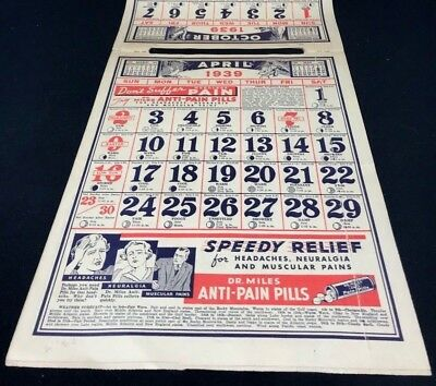 Dr Miles Nervine QUACK MEDICINE Advertising 1939 Drug Store 12 pg Calendar 13x10 4