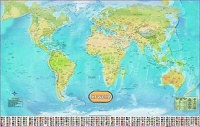 LARGE HUGE LAMINATED WORLD MAP Poster Wall Chart Flags Educational - A1 world map poster