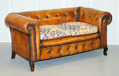 Pair Of Restored Victorian Gentleman Club Chesterfield Leather Sofas Kilim Seats 2
