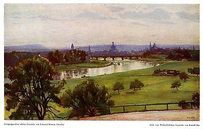 Blick auf Dresden XL Seite 1940 mit 2 Drucken Waldschlößchen Zwingerpavillon