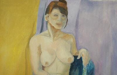 Large Expressionist nude woman portrait vintage oil painting 4