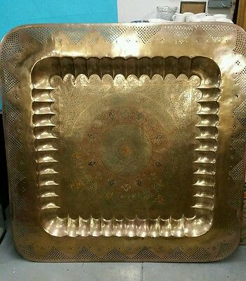 "ANTIQUE LARGE SIZE BRASS, Copper TRAY 45 ""×45"" HANDMADE 2"