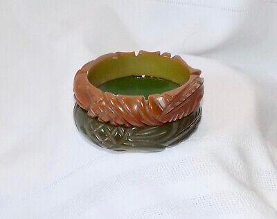 Fabulous Pair Of Vintage Matching Bakelite Bangle Bracelets - Deeply Carved 5