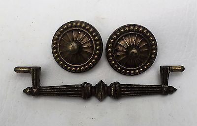 "MCM Brass Vintage Antique Hardware French Provincial Drawer Pull 4""center 6"