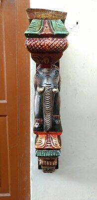 Elephant Wall Corbel Pair Handcarved Wooden Bracket Sculpture Estate Home Decor 10
