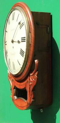 "Brown Of Norwich Antique English 8 Day Fusee Mahogany 12"" Drop Dial Wall Clock 4"
