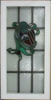 "MIDSIZE OLD ENGLISH LEADED STAINED GLASS WINDOW Shield & Helmet 15.5"" x 30.75"" 2"