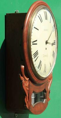 "Brown Of Norwich Antique English 8 Day Fusee Mahogany 12"" Drop Dial Wall Clock 3"