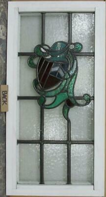"MIDSIZE OLD ENGLISH LEADED STAINED GLASS WINDOW Shield & Helmet 15.5"" x 30.75"" 3"