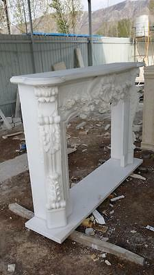 Beautiful Hand Carved Marble Floral  Fireplace Mantel - Jx1 4