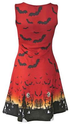 Halloween Red Orange Ombre Bats Spooky Cat Grim Reaper Haunted House Flare Dress 3
