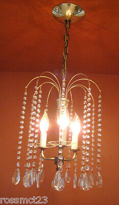 Vintage Lighting 1950s Eames Mid Century Hollywood Regency crystal chandelier 2