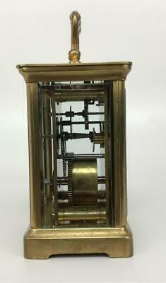 Antique 19thC French Brass Glass Carriage Officers Clock +Key HENRI JACOT (Attr) 3