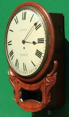 "Brown Of Norwich Antique English 8 Day Fusee Mahogany 12"" Drop Dial Wall Clock 2"