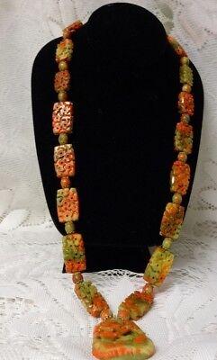 Vintage Chinese Asian Motif Sakura Carved Plastic Pendant Necklace