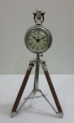 Vintage Tripod Table  Clock With Adjustable Legs and Face 2