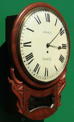 "Brown Of Norwich Antique English 8 Day Fusee Mahogany 12"" Drop Dial Wall Clock 5"