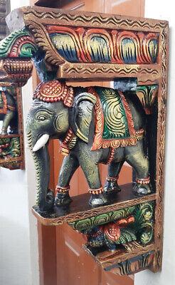 "Elephant Peacock Wall Bracket 24"" Corbel Pair Painted Wooden Sculpture Statue US 7"