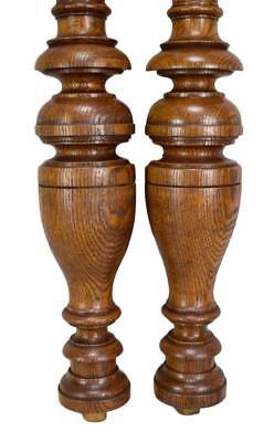 Architectural French Antique Pair Carved Oak Wood Columns Trim Posts Pillars 6