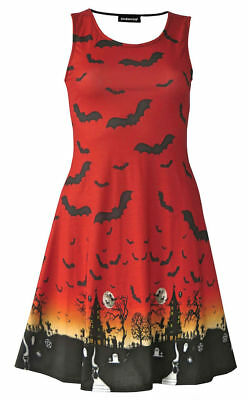 Halloween Red Orange Ombre Bats Spooky Cat Grim Reaper Haunted House Flare Dress 2