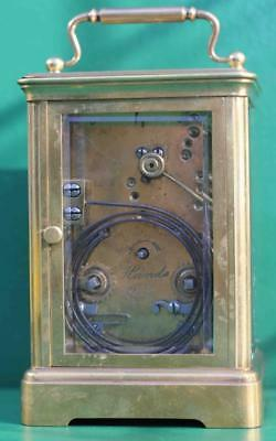 Antique French 8 Day Repeater With Silvered Mask Dial Carriage  Clock 5