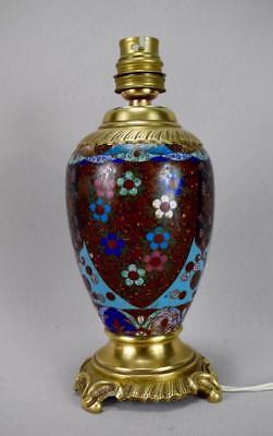 Antique 19th.C French Cloisonne Enamels Lamp Base Working Order ! 6