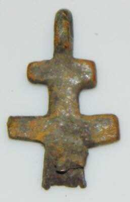 Medieval Byzantine Double Cross Pendant Crucifix Orthodox Christian Reliquary 2
