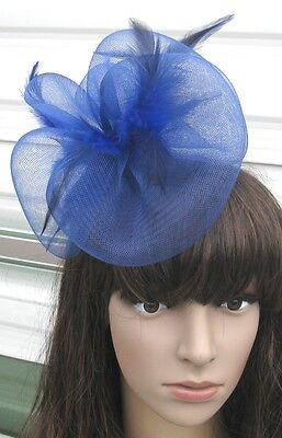 navy blue fascinator millinery feather brooch clip wedding hair piece ascot 1 2