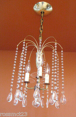 Vintage Lighting 1950s Eames Mid Century Hollywood Regency crystal chandelier 5