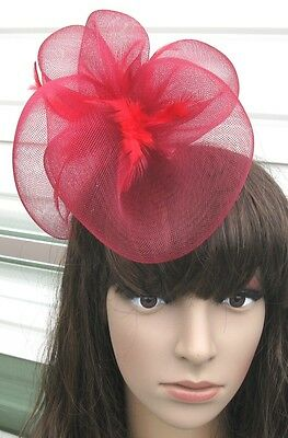 dark red fascinator millinery feather brooch clip wedding hair piece ascot 1 2
