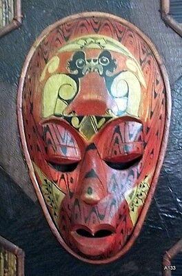 Quadro Etnografico Tribale Con Maschere In Legno. 8