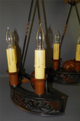 Antique Bronze Gothic Arts& Crafts Pr Sconces Lights Cold Painted Acorns Shield 3